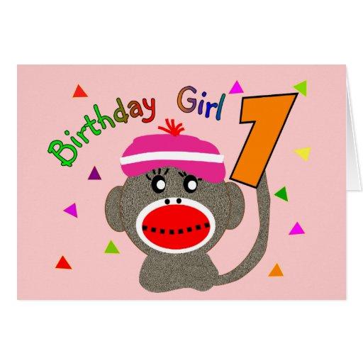 """Chica """"1"""" del cumpleaños años tarjetón"""