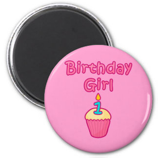 Chica 1 del cumpleaños de la magdalena imán redondo 5 cm