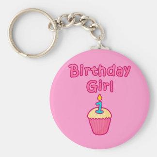 Chica 1 del cumpleaños de la magdalena llavero redondo tipo pin