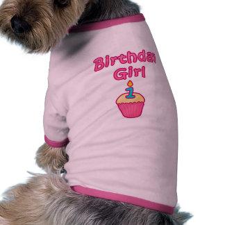 Chica 1 del cumpleaños de la magdalena camiseta de perro