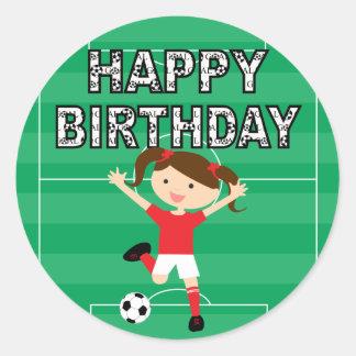 Chica 1 del cumpleaños del fútbol rojo y blanco pegatina redonda