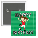 Chica 1 del cumpleaños del fútbol rojo y blanco pins