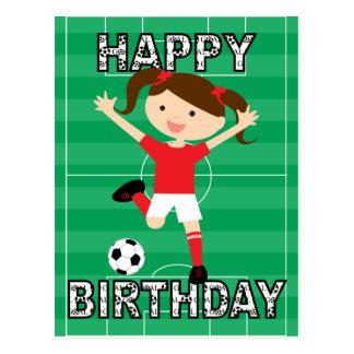 Chica 1 del cumpleaños del fútbol rojo y blanco postales