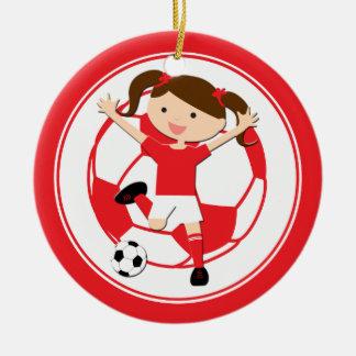 Chica 1 del fútbol y rojo y blanco de la bola adorno navideño redondo de cerámica