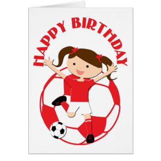 Chica 1 del fútbol y rojo y blanco de la bola felicitacion