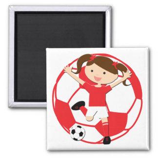 Chica 1 del fútbol y rojo y blanco de la bola imán cuadrado