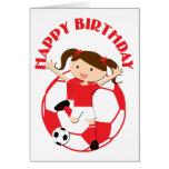 Chica 1 del fútbol y rojo y blanco de la bola tarjeta de felicitación