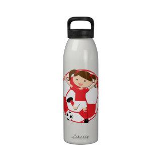 Chica 1 del fútbol y rojo y blanco de la bola botellas de beber
