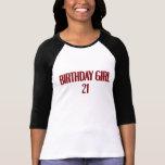 Chica 21 del cumpleaños camiseta