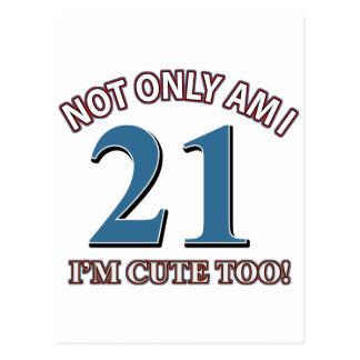 Chica 21 del cumpleaños tarjetas postales