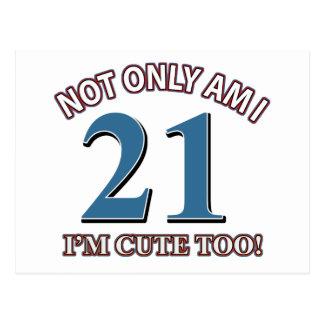 Chica 21 del cumpleaños postales