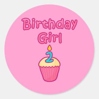Chica 2 del cumpleaños de la magdalena etiquetas redondas