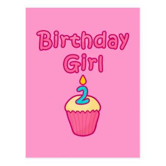 Chica 2 del cumpleaños de la magdalena tarjetas postales