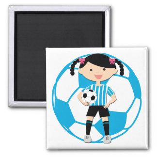 Chica 2 del fútbol y rayas azules y blancas de la imán cuadrado