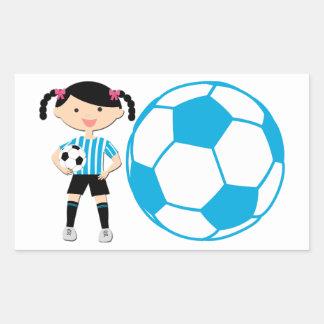 Chica 2 del fútbol y rayas azules y blancas de la rectangular altavoz