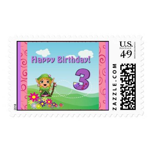 """Chica """"3"""" del feliz cumpleaños sello"""