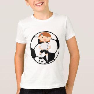 Chica 3 del fútbol y bola blanco y negro poleras