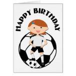 Chica 3 del fútbol y bola blanco y negro tarjeta de felicitación
