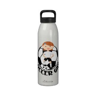 Chica 3 del fútbol y bola blanco y negro botellas de agua reutilizables