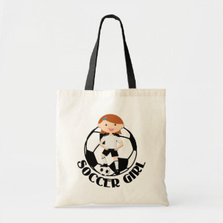 Chica 3 del fútbol y bola v2 blanco y negro bolsa de mano