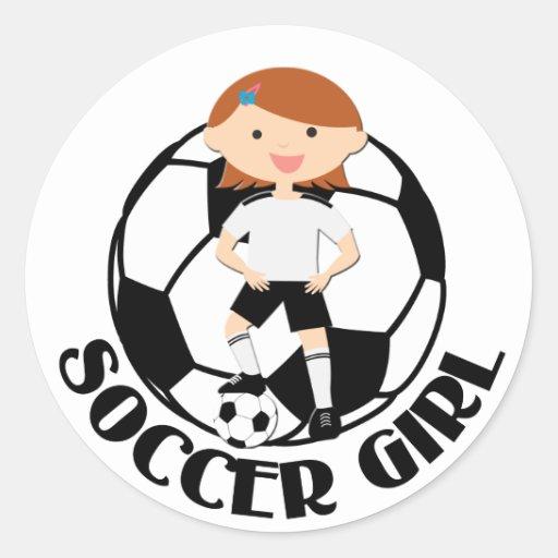 Chica 3 del fútbol y bola v2 blanco y negro etiquetas redondas
