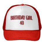 Chica 40 del cumpleaños gorra