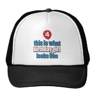 Chica 4 del cumpleaños gorra