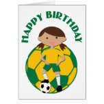 Chica 4 del fútbol y verde y amarillo de la bola tarjeton