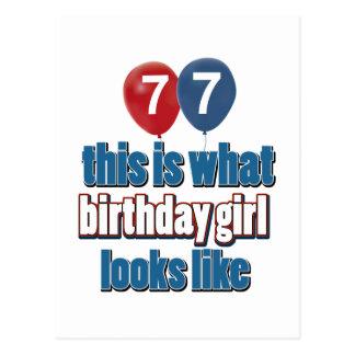 Chica 77 del cumpleaños postal