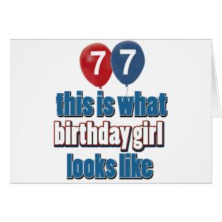 Chica 77 del cumpleaños tarjeta de felicitación