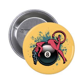Chica 8-Ball del diablo Pin Redondo 5 Cm