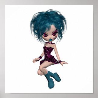 Chica 9 del gótico de la mascota de Gothique del b Posters