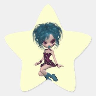 Chica 9 del gótico de la mascota de Gothique del Colcomanias Forma De Estrellaes