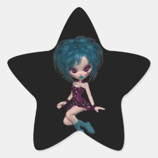 Chica 9 del gótico de la mascota de Gothique del Colcomanias Forma De Estrella Personalizadas