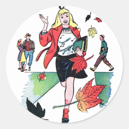 Chica adolescente del cómic del vintage del kitsch etiquetas redondas
