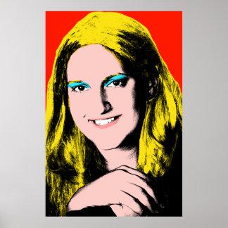 Chica adolescente terminado del arte pop póster