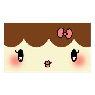 chica adorable del dibujo animado del artista de tarjetas de visita