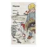 Chica adorable del vintage con los pollos plantillas de tarjetas de visita
