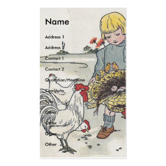 Chica adorable del vintage con los pollos tarjetas de visita