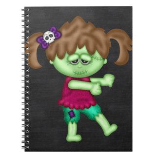 Chica adorable del zombi libros de apuntes con espiral