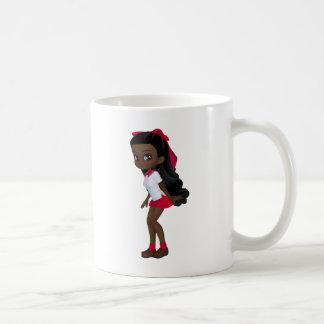 Chica afroamericano del schoolg tazas de café