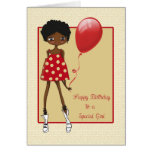 Chica afroamericano moderno, cumpleaños tarjeta de felicitación