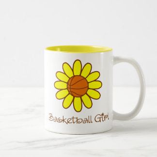 Chica amarillo del baloncesto tazas de café