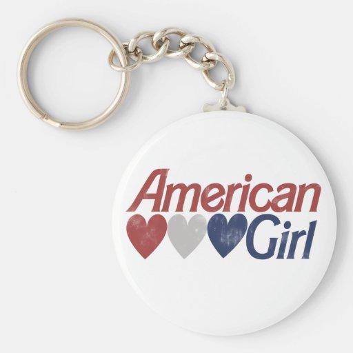 Chica americano llavero redondo tipo pin