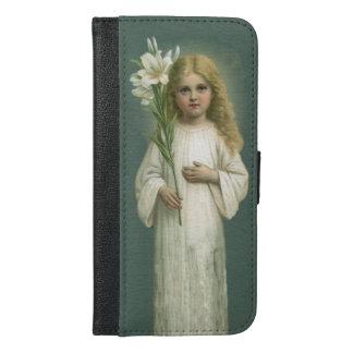 Chica angelical del Victorian en flores del lirio