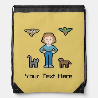 Chica animal del rescate del pixel de encargo mochila