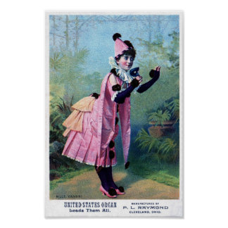 Chica antiguo de la mascarada póster