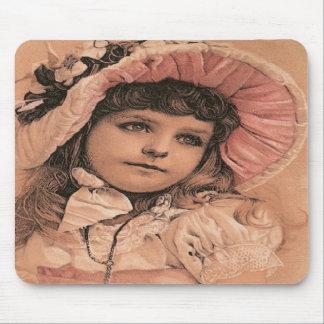 Chica antiguo Mousepad del Victorian del vintage