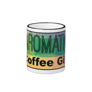 Chica aromático del café taza a dos colores
