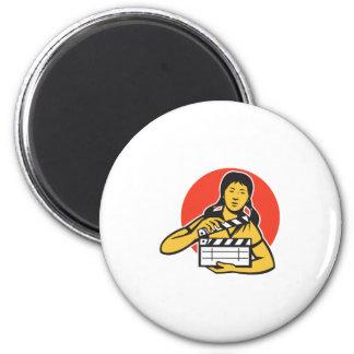 Chica asiático de la mujer con la tablilla de la p imán redondo 5 cm